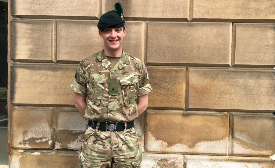 Army officer outside County Hall in Matlock