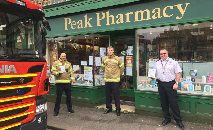 Fire crew outside Peak Pharmacy