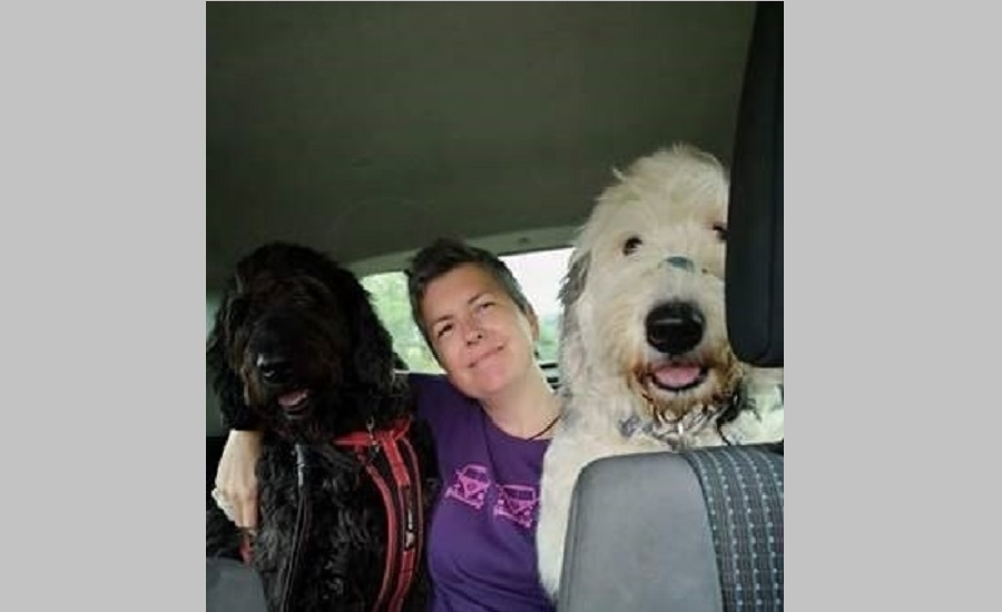 Mandy and two dogs in the back of a car