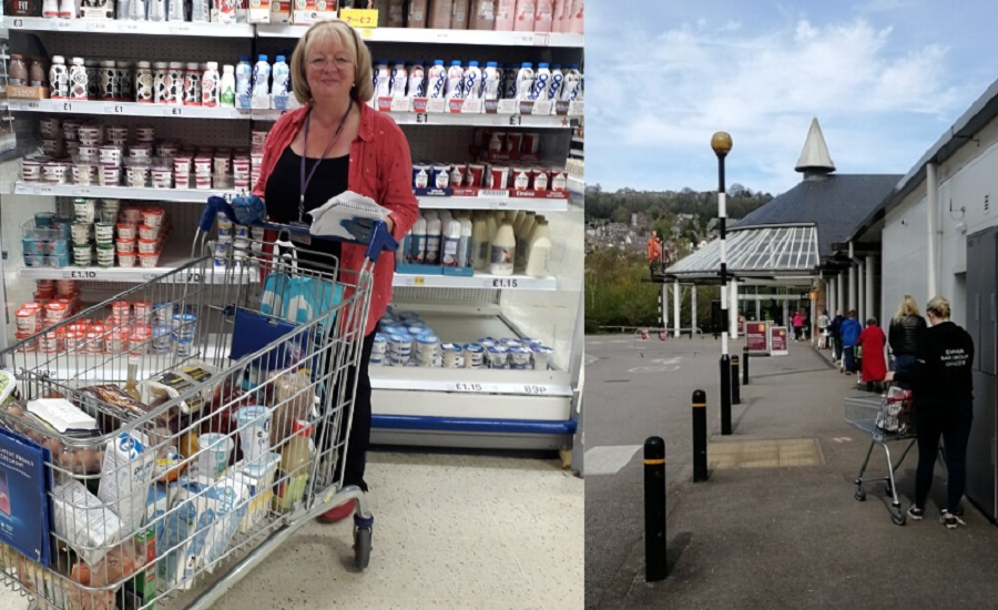 Christine Nutt shopping at a supermarket